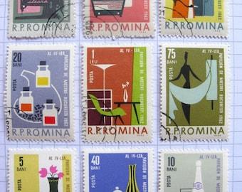 Retro homewares stamp set - vintage - postage stamp ephemera
