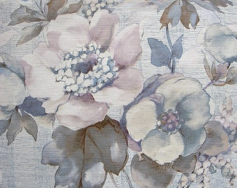 vintage wallpaper - blue pink and mauve flowers - per yard - FOLDED