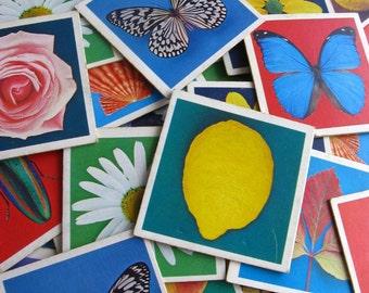 vintage game pieces - 10 bright cardboard pics
