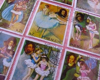 vintage ballerina stamp set - postage stamp ephemera - vintage