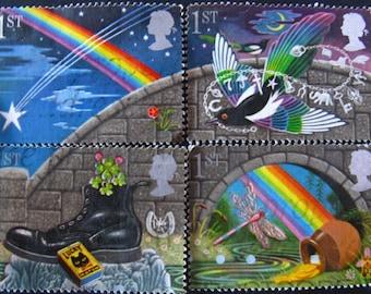 Good luck stamp set - postage stamp ephemera - UK
