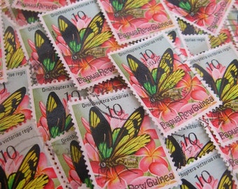 vintage postage - Papua New Guinea - PNG butterfly - postage stamp ephemera - 1975