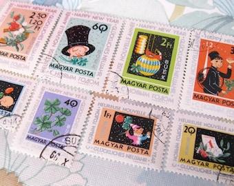 New Year stamp set  - Hungary - postage stamp ephemera - vintage