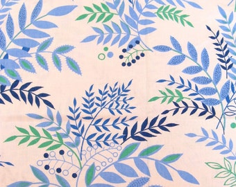 vintage fabric - blue and green foliage - 42x48 inches