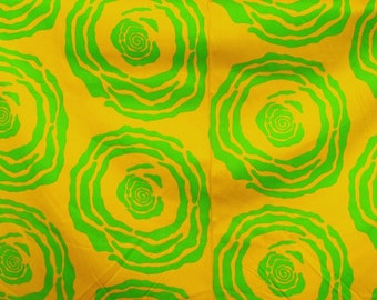 vintage fabric - bold golden yellow and green - 1.5 metres - 47 x 59 inch