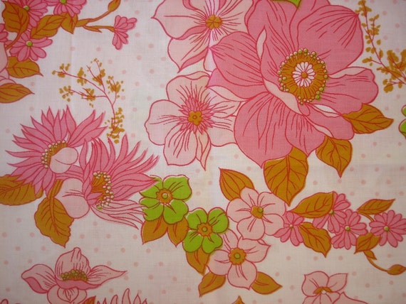 vintage fabric - pink and green floral