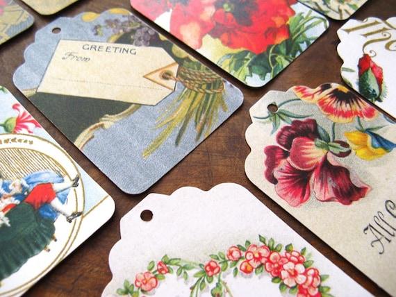 vintage illustrated card ephemera - gift tags - 12 large