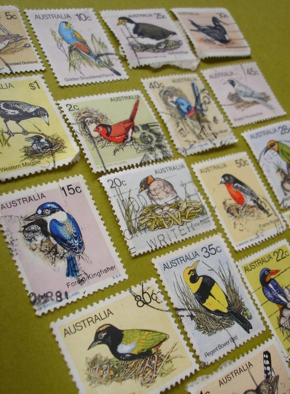 vintage birds - vintage postage stamp ephemera