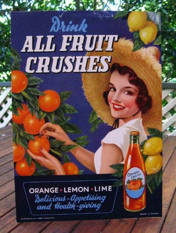 vintage advertising sign - orange crush - display size - UK