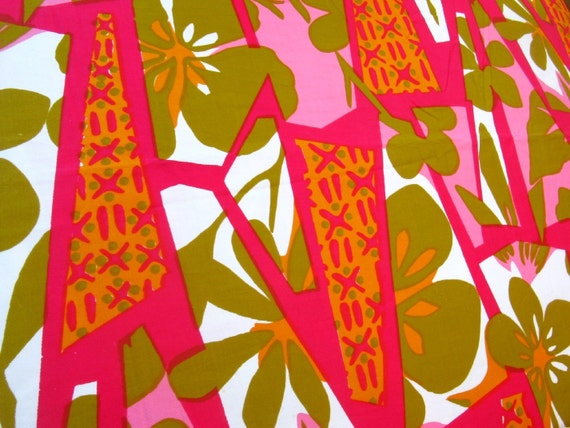 vintage fabric -  pink and olive floral screenprint
