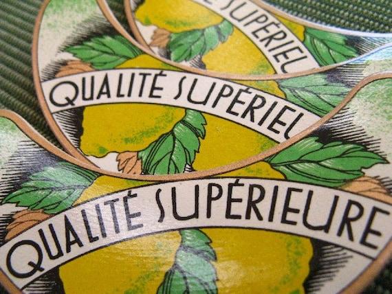 vintage French labels - 5 - Qualite Superieure - lemons - collage ephemera