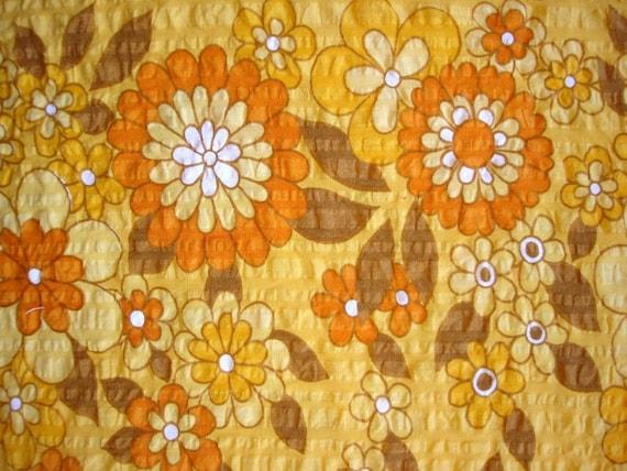 ON HOLD for MNEMOSYNEDESIGNS - vintage fabric - orange floral border seersucker