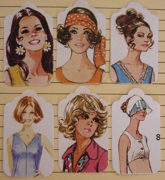 Ladies of 70s fashion - small gift tags - 12