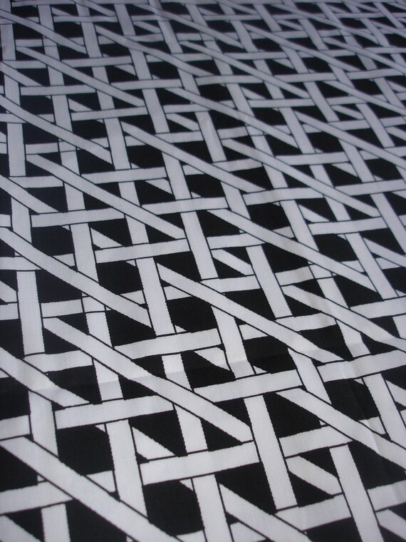 vintage fabric  - black white check - Rowe