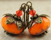 BOGO SALE Opaque Orange Czech Glass Earrings with Swarovski Crystals and Antiqued Brass. Denmark Earrings in Orange