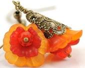 Flower Jewelry. Dangle Earrings. Orange Blooming Flower Earrings. Mali Earrings in Orange