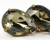 Black Diamond Earrings . Grey Earrings . Dangle Earrings . Vintage Black Diamond Jewels . Sweden Earrings in Black Diamond Jewel