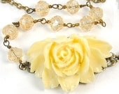 Beaded Rose Necklace. Spring Fashion. Ivory Rose Necklace with Champagne Rosebuds. Argentina Necklace in Champagne. Brass Jewelry