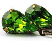 Green Earrings Drop Earrings Dangle Earrings Olivine Green Jewel Earrings Vintage Glass Jewels . Sweden Earrings in Olivine Antiqued Brass
