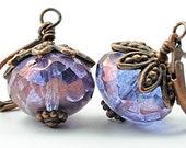 Purple Glass Earrings Amethyst Purple Luster Glass Jewelry Antiqued Copper Purple Earrings Purple Bead Earrings February Birthstone, Denmark