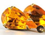Topaz Earrings. November Birthstone Earrings. Teardrop Earrings. Yellow Topaz Birthstone Jewelry Vintage Topaz Jewel Earrings. Sweden