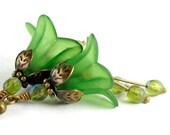 Beaded Jewelry. Green Flower Earrings. Green Flower Blossom Earrings. France Earrings in Green Lucite. Spring Fashion