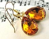 Yellow Topaz Earrings. Birthstone Jewelry. November Birthstone Earrings . Vintage Jewel Earrings. Teardrop Earrings 14 Kt Gold Filled Sweden