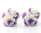 Flower Stud Earrings. Post Earrings. Spring Jewelry. Two Tone Purple and White Flower Bouquet. Argentina Earrings in Purple and White II