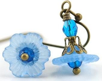 Blue Earrings. Aqua Blue Petite Flower Earrings with Aqua Czech Glass and Antiqued Brass. Japan Earrings in Aqua Blue II
