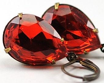 Red Earrings Jewel Earrings Siam Drop Earrings - Christmas Jewelry - Holiday Earrings Vintage Light Siam Jewels - Sweden
