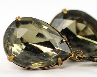 Black Diamond Earrings Grey Earrings Dangle Earrings Vintage Black Diamond Jewels Evening Fashion Earrings Smoky Gray Earrings, Sweden