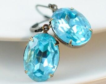 March Birthstone Earrings . Vintage Aqua Earrings . Aquamarine Earrings Blue Jewel Earrings in Antiqued Brass . Sweden Earrings in Oval Aqua
