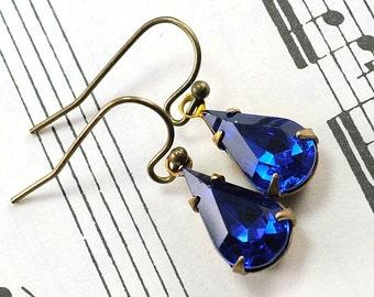 Capri Blue Earrings Teardrop Earrings Blue Drop Earrings Jewel Earrings, Estate Style Hollywood Glamour, Antiqued Brass, Sweden