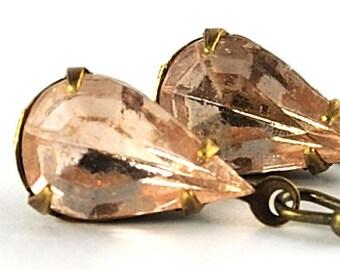 Blush Earrings Pale Pink Glass Earrings Blush Jewelry Champagne Earrings Peach Earrings Gift For Her Vintage Jewel Earrings, Sweden