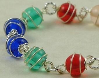 Rainbow Glass Bracelet. Wire Wrapped Glass. Germany Bracelet in Rainbow Colors