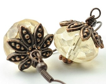 Beaded Earrings. Champagne Earrings. Glass Jewelry. Pale Yellow Earrings Dangle Earrings. Rustic. Denmark Glass Earrings