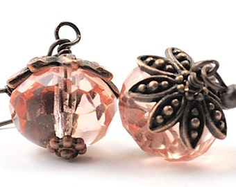 Pink Earrings. Rustic Wedding Jewelry. Blush Earrings Antiqued Copper and Czech Glass Dangles Think Pink Beaded Jewelry. Denmark