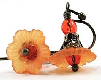 Orange Flower Earrings Halloween Jewelry Orange Petite Flower Earrings Tween Earrings Romantic Jewelry Floral Jewellery, Japan