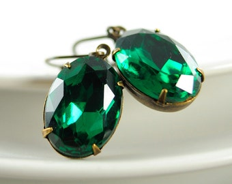 Emerald Earrings May Birthstone Earrings . Vintage Emerald Green Glass Jewel Earrings in Antiqued Brass Sweden