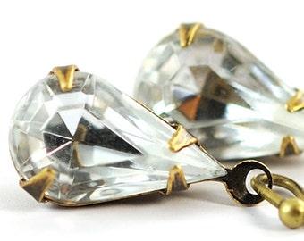 April Birthstone Earrings Dangle Earrings Faux Diamond Earrings. Glass Jewel Earrings . Antiqued Brass Sweden Earrings in petite diamond