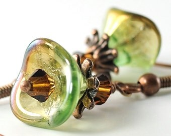 Green Flower Earrings Brown Green Earrings, Chrysolite Celsian Green and Smoked Topaz Glass Earrings, Beaded Glass Jewelry, Belgium