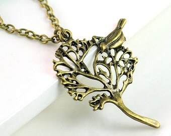 Tree Pendant Necklace Tree Necklace with Bird Metal Necklace Bird Tree Necklace Charm Necklace, Canada