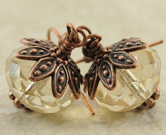 BOGO SALE - Crystal Champagne Faceted Glass Earrings in Antiqued Copper - Denmark Earrings in Crystal Champagne