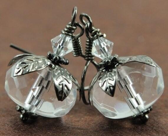 April Birthstone Earrings . Beaded Wedding Earrings . Diamond Alternative Crystal Clear Czech Glass Gunmetal Earrings . Denmark Earrings