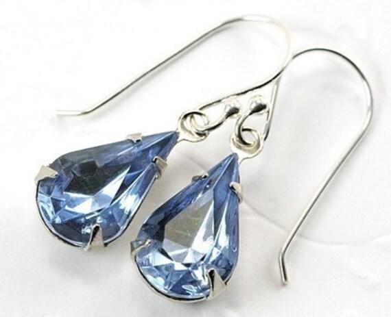 Vintage Jewel Earrings. Light Sapphire Blue Earrings. Sterling Silver Earwires.  Sweden