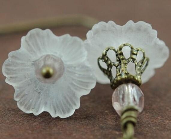 Drop Earrings White Flower Earrings Czech Glass and Antiqued Brass. Japan Earrings in White