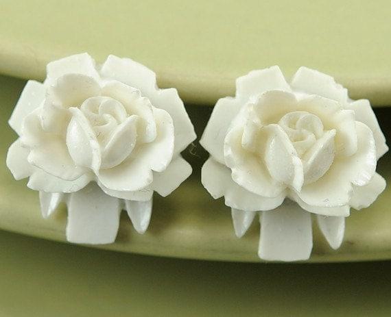 Post Earrings. White Flower Earrings. Small Rosebud Stud Earrings. Argentina Earrings in White Petite Rosebud