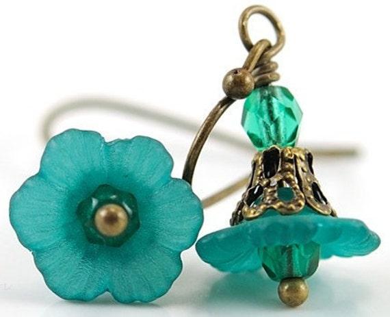 Teal Green Earrings Dangle Earrings Flower Jewelry Bead Earrings Flower Earrings. Teal Earrings with Czech Glass Brass Jewelry, Japan