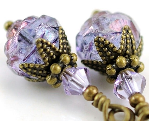 Amethyst Glass Earrings. Light Purple Jewelry. Glass Beaded Earrings with Swarovski Crystal. Moldova
