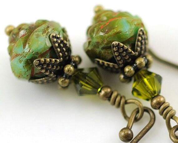 Green Turquoise Glass Earrings. Green Beaded Earrings with Rosebud Czech Glass and Olivine Swarovski Crystals. Antiqued Brass. Moldova
